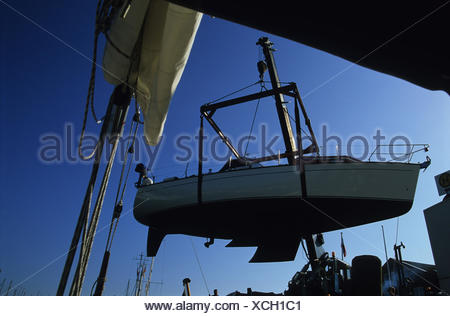 Germany, Baltic Sea*-island Fehmarn, shipyard, crane, boat, hoists, Baltic sea, island, dock, dry-dock, ship, motorboat, repair, maintenance, control, ship-construction, weigh-crane, economy, ship-construction, outside, - Stock Photo