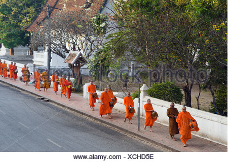 Monks on their morning alms round, Luang Prabang, Laos, Indochina, Asia - Stock Photo