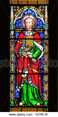 St. Peter, with keys to Heaven, Stained glass window by William Wailes, 1853, Swaffham, Norfolk, England, UK, saint - Stock Photo