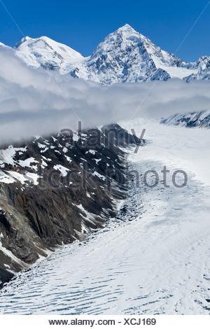 Aerial view of Margerie Glacier and Mt. Fairweather in Alaska's Glacier Bay National Park, Alaska - Stock Photo