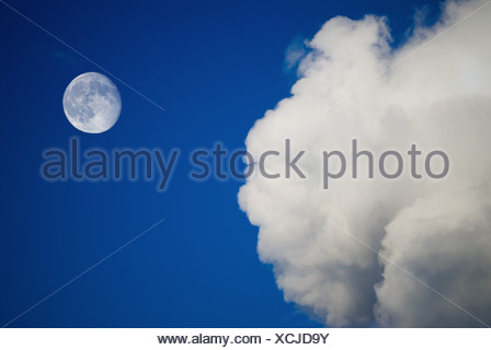moon and clouds on the blue sky - Stock Photo