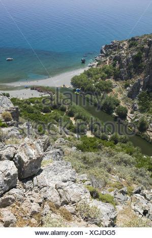 Griechenland, Kreta, Preveli Beach, Flussmündung, Meer, Palmenstrand, - Stock Photo