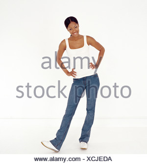 Full-length portrait of young african american woman - Stock Photo