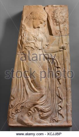 Marble relief with a dancing maenad. Adaptation of work attributed to Kallimachos; Period: Early Imperial, Augustan; Date: ca. 27 B.C.-A.D. 14; - Stock Photo