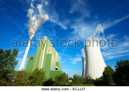 Germany, Saxony-Anhalt, Schkopau, brown coal power station - Stock Photo