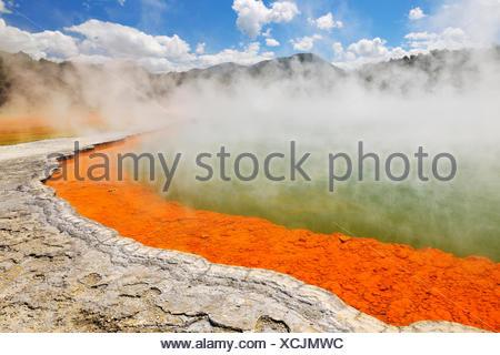 Champagne Pool, hot spring, New Zealand, Northern Island, Bay of Plenty, Wai-O-Tapu Thermal Wonderland - Stock Photo