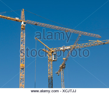 Cranes, Rheinauhafen harbour, Cologne, North Rhine-Westphalia, Germany - Stock Photo