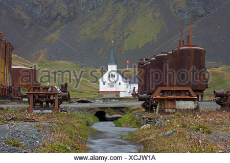 Norwegian Lutheran Church, also known as the Whalers Church and as Grytviken Church, in Grytviken, South Georgia, was built in 1 - Stock Photo