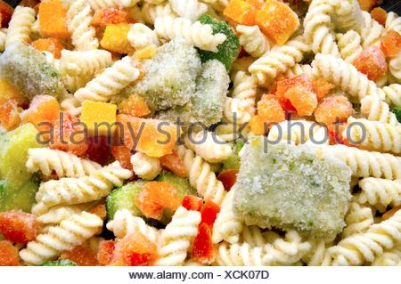 Frozen ready cooked pasta - Stock Photo