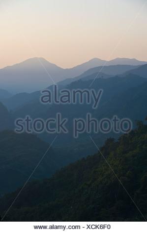 Pristine jungles of Arunachal Pradesh in the light of the setting sun, North East India, India, Asia - Stock Photo