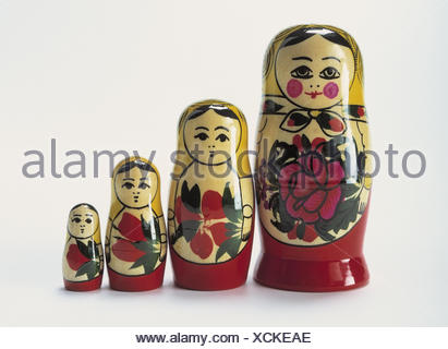 Matroschkas, sizes, passed away Matroschka, Matrjoschka, figures, wooden, paints, wooden dolls, souvenir, handicraft, folk art, in Russian, size difference, size, differently, Still life, product photography, studio - Stock Photo
