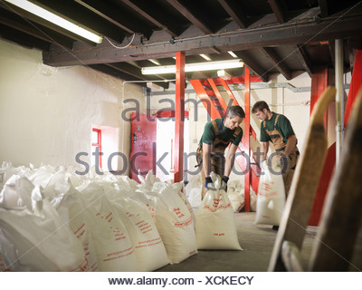 Workers with sacks of grain in brewery - Stock Photo
