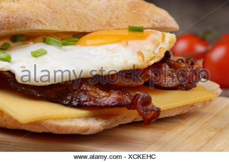 Fried egg sandwich - Stock Photo