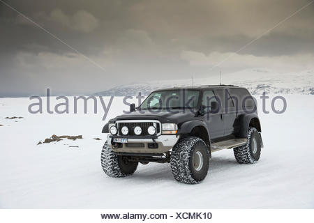 Super Jeep in the highlands, Langjökull, Southern Region, Iceland - Stock Photo