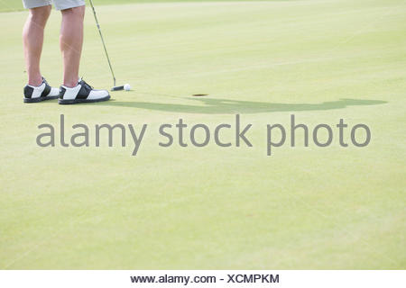 Low section of middle-aged man playing golf - Stock Photo