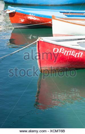 Fishing boats in the harbour, Lazise, Lake Garda, Italy - Stock Photo