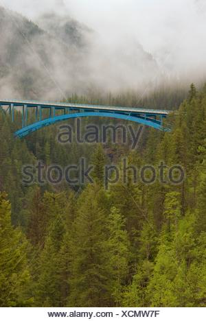 Crowsnest Highway between Castlegar and Christina Lake, Boundary region, Paulson bridge, British Columbia, Canada. - Stock Photo