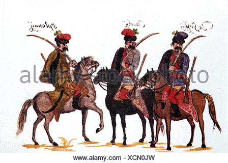 military, Austria, cavalry, Hungarian hussars, Rhine army 1734, drawing by Franz Philipp von Gudenus (1710 - 1783), Additional-Rights-Clearences-NA - Stock Photo