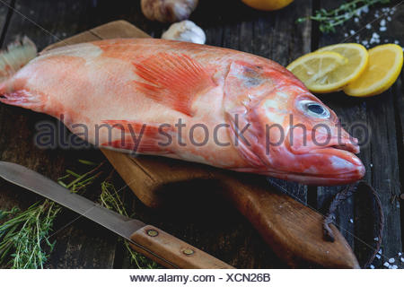 Raw fish grouper on wooden cutting board with sliced lemon, rosemary and saltover old wooden kitchen table. Dark rustic style. - Stock Photo