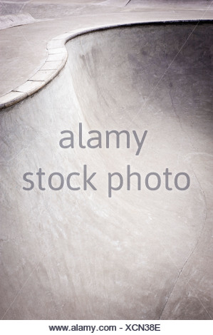 Belgium, Mechelen, View of skatebowl with concrete coping - Stock Photo