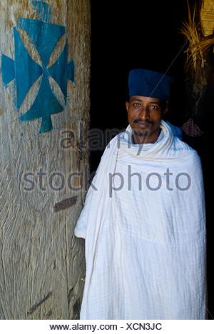 Orthodox priest in Debre Dawa, Ethiopia, Africa - Stock Photo