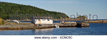 Fishing shack, lobster cages, iceberg, Hillgate, Newfoundland, Canada, shack - Stock Photo