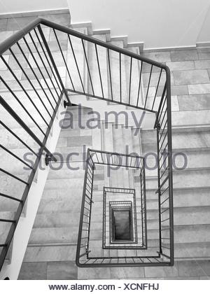 High Angle View Of Spiral Staircase - Stock Photo