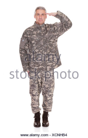 Mature Military Soldier Saluting Isolated On White Background - Stock Photo