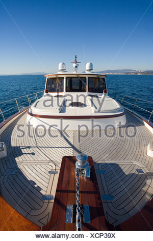 Portland 55 motoryacht, built by Abati yachts in 2006, cruising the Mediterranean. Tuscany, Italy. - Stock Photo