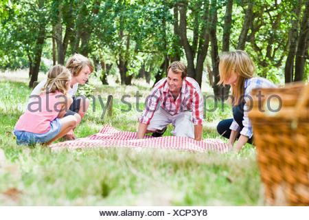 Family having picnic in park - Stock Photo