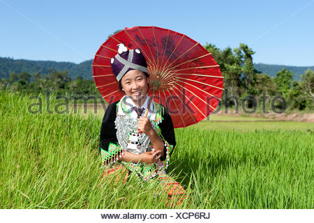 portrait hmong from laos - Stock Photo