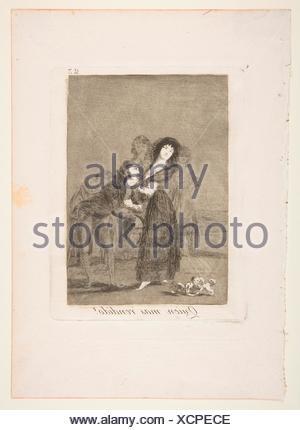 Plate 27 from ´Los Caprichos´:Which of them is the more overcome? (Quien mas rendido?). Series/Portfolio: Los Caprichos; Artist: Goya (Francisco de - Stock Photo