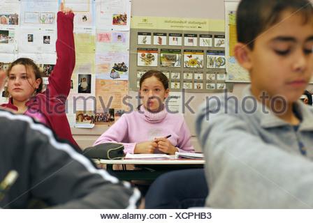 Class during a lesson, Breisach am Rhein, Germany - Stock Photo