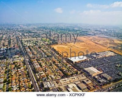 Construction site of the Las Angeles Rams National Football League stadium in Inglewood, California. The site is about 3-miles from the Los Angeles Stock Photo