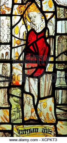St. Martin, Bishop of Tours, medieval stained glass window, North Tuddenham, Norfolk saint saints - Stock Photo