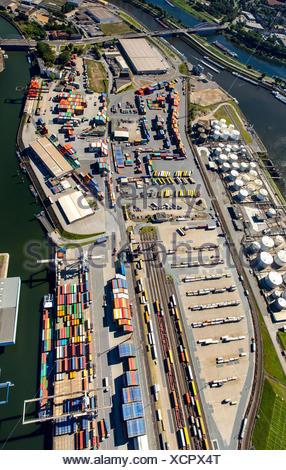 Duisport, inland port, Rhine, Duisburg, Ruhr district, North Rhine-Westphalia, Germany - Stock Photo