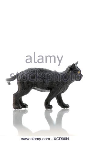 Black plastic cat - Stock Photo