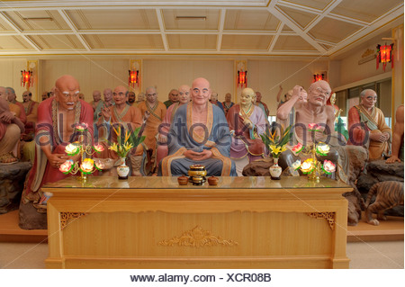 Asia, Taiwan, temple, Dong Fu Zan, East River Valley, religion, inside, figures - Stock Photo