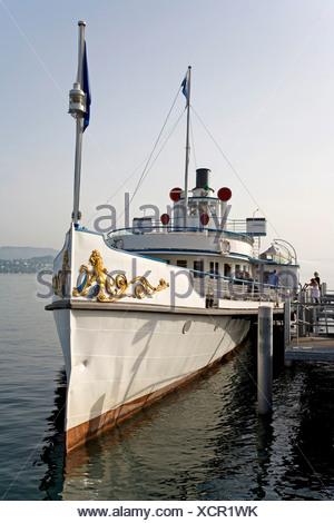 'Stadt Zurich' paddle steamer, on Lake Zurich, Zurich, Switzerland, Europe - Stock Photo