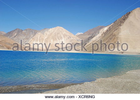 Pengong tso Lake ( an endorheic lake in the Himalayas situated at a height of about 4,350 m (14,270 ft). It is 134 km (83 mi) lo - Stock Photo