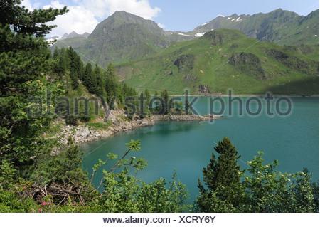 Switzerland, Ticino, Ritom, Piora, Quinto, lake, mountains, wood, forest, - Stock Photo