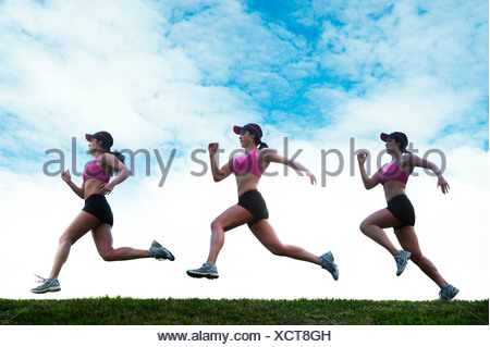 Composite multiple image of young woman running - Stock Photo