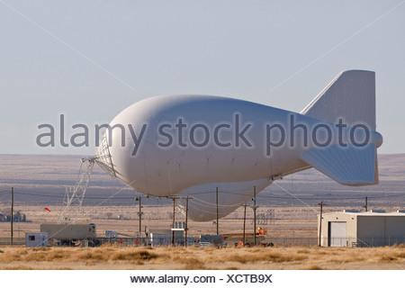 TARS Radar Balloon Tethered at Marfa, Texas - Stock Photo