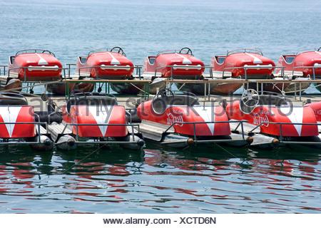 Pedal boats on Lake Zurich, Switzerland, Europe - Stock Photo