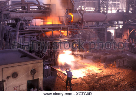 Steel Furnace at SAIL Steel Authority of India Ltd plant at Burnpur West Bengal India - Stock Photo