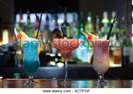 Close up on mouth watering cocktails - Stock Photo