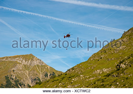 Allgäu Alps Bavaria mountain rescue Germany Eurocopter Europe fly flight helicopter aerial rescue rescue service training - Stock Photo