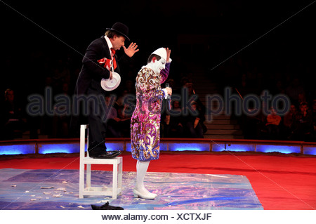 Clowns Yann and Hector Rossi, Les Rossyann, Circus Krone, Munich, Bavaria, Germany, Europe - Stock Photo