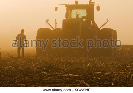 a farmer walks toward a tractor pulling cultivating equipment in a sunflower stubble field, near Lorette, Manitoba, Canada - Stock Photo