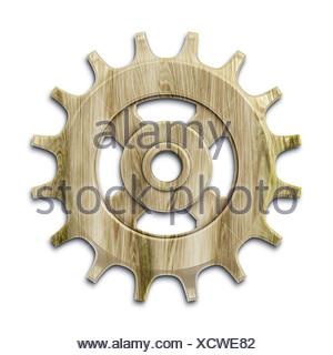 wooden gear - Stock Photo